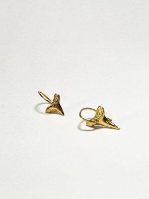 Diente De Tiburon - Aretes en bronce bañado en oro