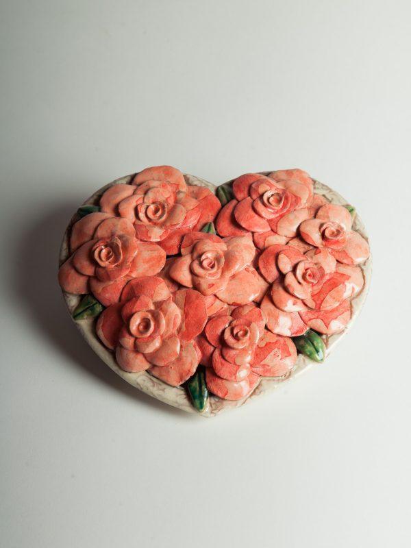 Corazon Con Flores Grande - Cerámica